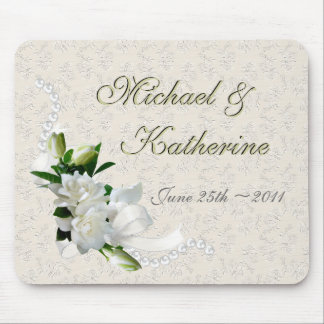 Gardenias del boda tapete de ratones
