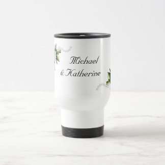 Gardenias del boda taza de viaje de acero inoxidable