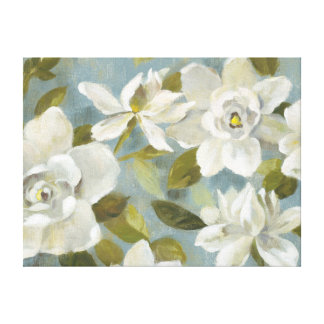Gardenias on Slate Blue Canvas Print