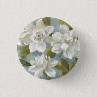 Gardenias on Slate Blue Pinback Button