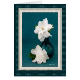 Gardenias & teal I Greeting Card