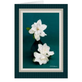 Gardenias & teal II Card
