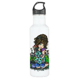 Gardening Girl Flower Garden Art by Hannah Lynn 24oz Water Bottle