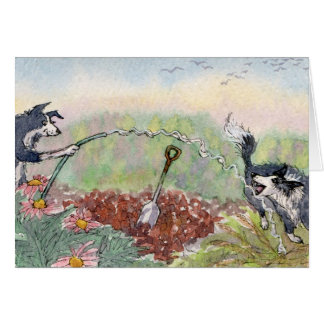 Gardening is Fun! Dogs, hoses, digging Card