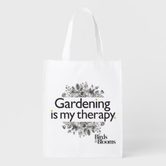 Gardening is my therapy reusable grocery bag
