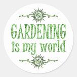 Gardening is My World Classic Round Sticker