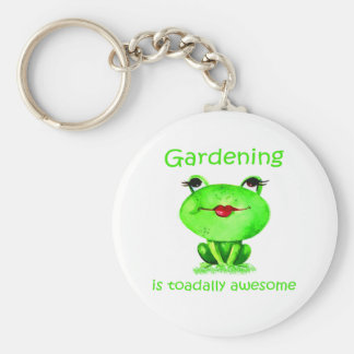 Gardening is Toadally Awesome Fun Toad Quote Keychain
