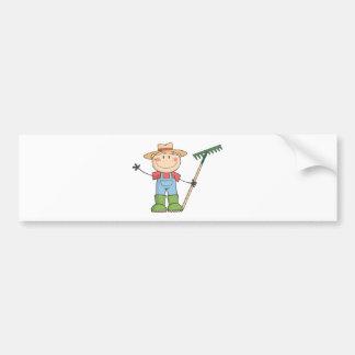 Gardening Kid Waving A Greeting Car Bumper Sticker