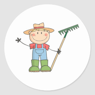 Gardening Kid Waving A Greeting Classic Round Sticker
