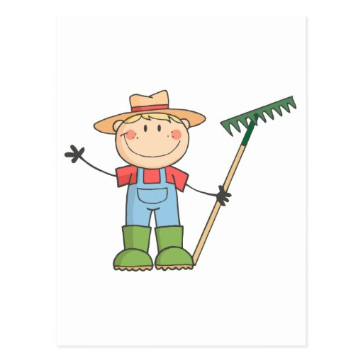 Gardening Kid Waving A Greeting Postcard
