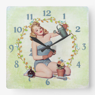 Gardening Libations PinUp Gardener Square Wall Clock