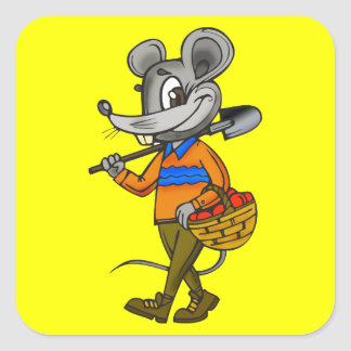 Gardening Mouse Square Sticker