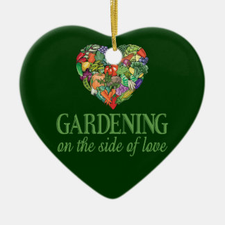 Gardening on the Side of Love Double-Sided Heart Ceramic Christmas Ornament