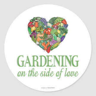 Gardening on the Side of Love Classic Round Sticker