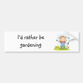 Gardening or Farming Girl Car Bumper Sticker