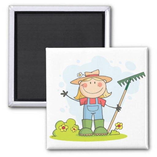 Gardening or Farming Girl Fridge Magnet