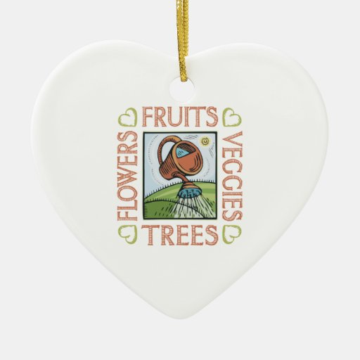 Gardening Double-Sided Heart Ceramic Christmas Ornament