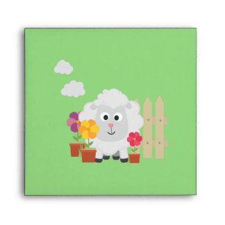 Gardening Sheep with flowers Z67e8 Envelope