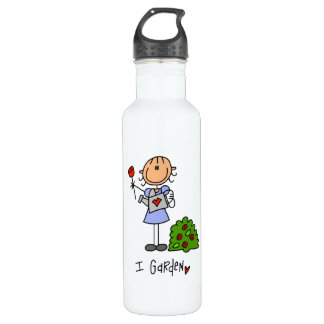Gardening Stick Figure 24oz Water Bottle