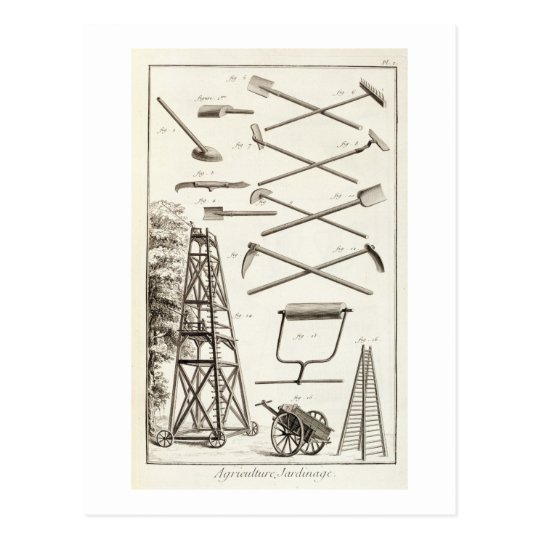 Gardening tools and a mobile pruning platform, fro postcard