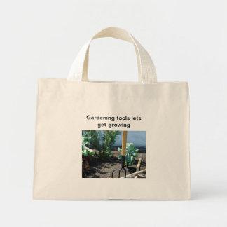 Gardening tools lets get growing mini tote bag