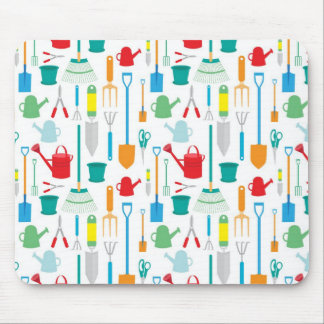 Gardening Tools Pattern Mouse Pad