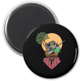 Gardening Wheel Barrel Design Fridge Magnets