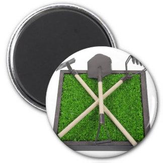 GardeningToolsOnRaisedGrassBed112611 2 Inch Round Magnet