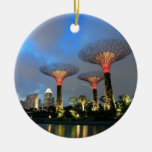 Gardens by the Bay Singapore Supertree Grove Double-Sided Ceramic Round Christmas Ornament