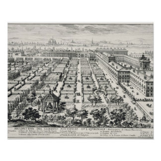 Gardens of the Quirinale, from 'Li Giardini di Rom Posters