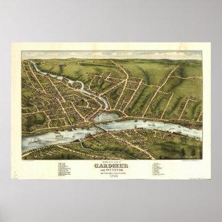 Gardiner Maine 1878 Antique Panoramic Map Poster