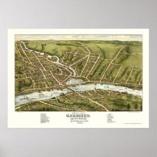 Gardiner & Pittston, ME Panoramic Map - 1878 Poster