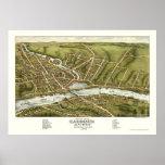 Gardiner y Pittston, YO mapa panorámico - 1878 Póster