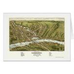 Gardiner y Pittston, YO mapa panorámico - 1878 Tarjeta De Felicitación