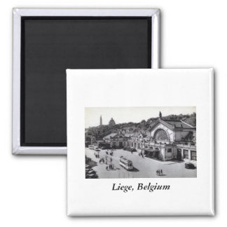 Gare des Guillemins, Liege Belgium Vintage 2 Inch Square Magnet
