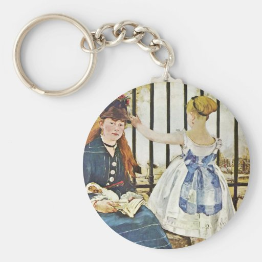 Gare Saint-Lazare By Manet Edouard Keychains