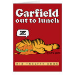 Garfield hacia fuera a almorzar tarjeta de nota