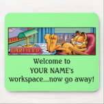 """Garfield Logobox Now Go Away Mousepad<br><div class=""""desc"""">All customizations are subject to Garfield&#39;s Customization Guidelines.</div>"""
