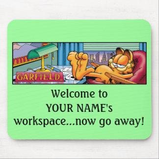 Garfield Logobox va Mousepad ausente ahora Alfombrillas De Ratón