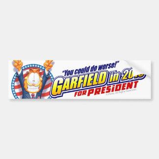 Garfield para el presidente en 2016 pegatina para auto