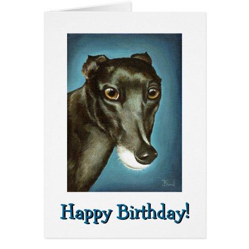 Garfiney Beauty - greyhound portrait Card
