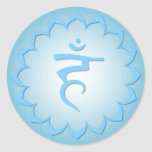 Garganta Chakra - azul claro Pegatinas Redondas