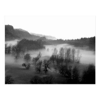 Garganta de niebla de Columbia en postal monocromá