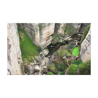 Garganta del río del EL Tajo en Ronda Impresión En Tela