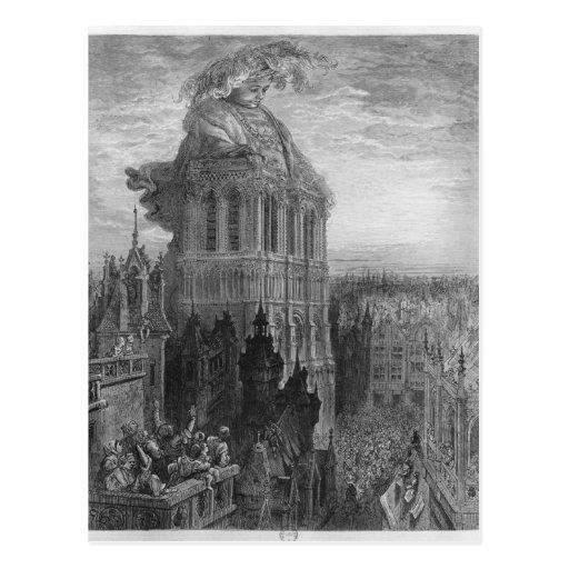 Gargantua on the towers of Notre-Dame at Paris Postcard
