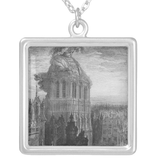 Gargantua on the towers of Notre-Dame at Paris Silver Plated Necklace