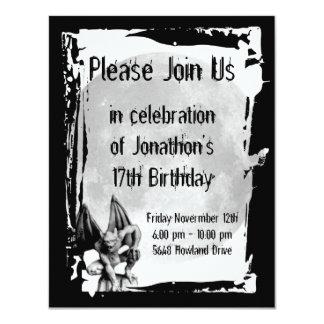 Gargoyle and Full Moon Gothic Birthday Invitation