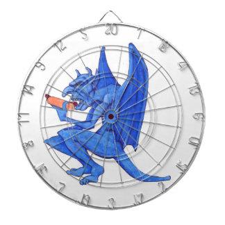 Gargoyle azul que come un perrito caliente