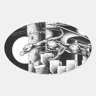Gargoyle Creature Oval Sticker
