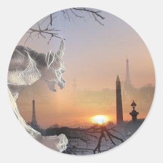 Gargoyle de Notre-Dame Pegatina Redonda